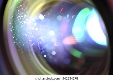 LCD projector light with close-up lens soft focus and blurred.