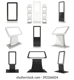 LCD Screen Kiosk Stand Set. Blank Trade Show Booth Collection. 3d render of lcd screen isolated on white background. High Resolution. Ad template for your expo design.