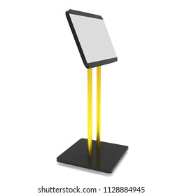LCD Screen Stand. Trade Show Booth. 3d render of tv info kiosk isolated on white background. High Resolution. Ad template for your expo design.