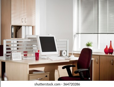?omputer with LCD screens in modern office