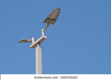 LCD Smart street lamp with blue sky background in day time.