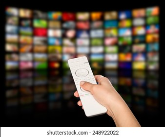 LCD TV panels. Television production technology concept. Remote control.