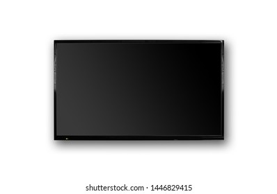 LCD TV with thin black frame hanging on white wall. Blank black screen. Isolated on white background.