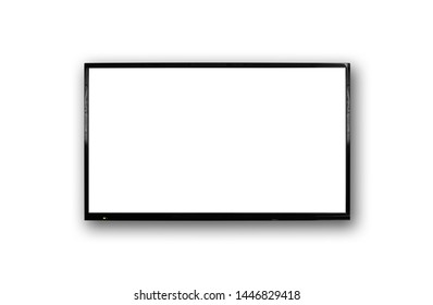 LCD TV with thin black frame hanging on white wall. Blank white screen. Isolated on white background.