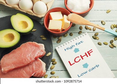 LCHF concept. Notepad with text and dietary food on light table.