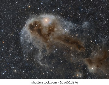 LDN 1250, far to the north, the constellation of Cepheus has hidden some very interesting treasures. Many of them are only elicited from the weak details and subtile colours by very long exposures.
