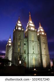 LDS Temple at Salt Lake City, Utah at dusk