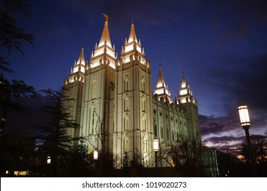 LDS Temple at Salt Lake City, Utah illuminated at dusk