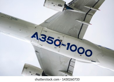 LE BOURGET, FRANCE - JUNE 20, 2019: AAirbus A350-1000 flying a d