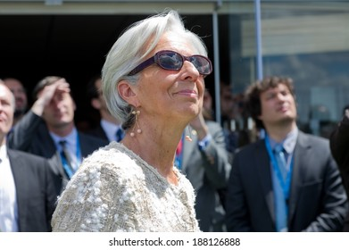 LE BOURGET, FRANCE - JUNE 20, 2011 : Christine Lagarde during an aerial demonstration in Paris air Show 2011