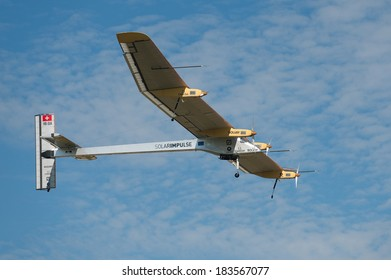 LE BOURGET, FRANCE - JUNE 26, 2011 - Solar Impulse, experimental aircraft powered by solar energy flying for demonstration