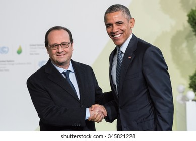 LE BOURGET, FRANCE - NOVEMBER 30, 2015 : French President Francois Hollande and Barack Obama, President of United State of America at the Paris COP21, United nations conference on climate change.