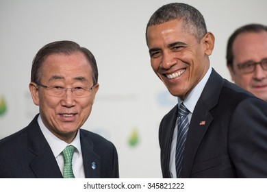 LE BOURGET near Paris, FRANCE - NOV. 30, 2015 : Ban Ki-moon, Secretary-General of the United Nations and Barack Obama, President of United State of America at the Paris COP21.
