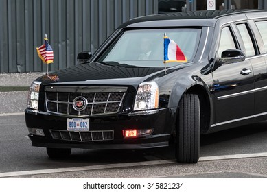 LE BOURGET near Paris, FRANCE - NOVEMBER 30, 2015 : Presidential state car of Barack Obama, President of United State of America at the Paris COP21, United nations conference on climate change.