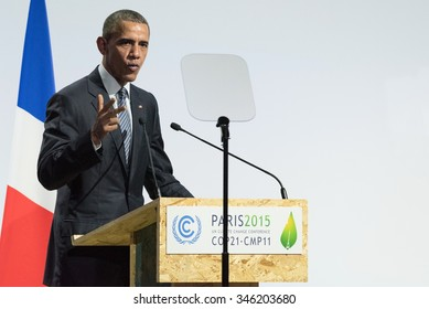 LE BOURGET near PARIS, FRANCE - NOVEMBER 30, 2015 : Barack Obama, President of United State of America delivering his speech at the Paris COP21, United nations conference on climate change.