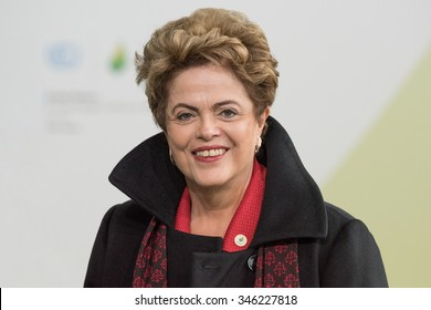 LE BOURGET near PARIS, FRANCE - NOVEMBER 30, 2015 : President of Brazil Dilma Rousseff at the Paris COP21, United nations conference on climate change.