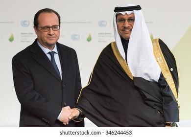 LE BOURGET near PARIS, FRANCE - NOVEMBER 30, 2015 : French President Francois Hollande and  Kuwaiti Prime Minister Sheikh Jaber al-Mubarak al-Sabah  at the Paris COP21.