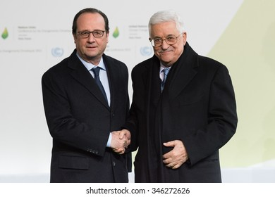 LE BOURGET near PARIS, FRANCE - NOVEMBER 30, 2015 : French President Francois Hollande welcome President of the State of Palestine Mahmoud Abbas at the Paris COP21,