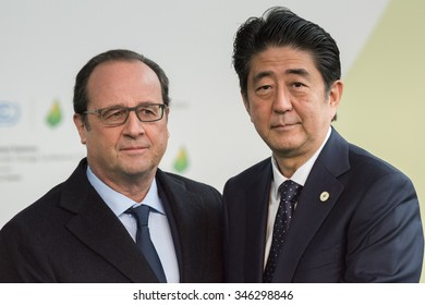 LE BOURGET near PARIS, FRANCE - NOVEMBER 30, 2015 : French President Francois Hollande welcome Prime Minister of Japan Shinzo Abe at the Paris COP21, United nation conference on climate change.