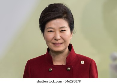 LE BOURGET near PARIS, FRANCE - NOVEMBER 30, 2015 :President of South Korea Park Geun-hye at the Paris COP21, United nation conference on climate change.