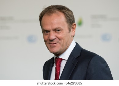 LE BOURGET near PARIS, FRANCE - NOVEMBER 30, 2015 : President of the European Council Donald Tusk at the Paris COP21, United nation conference on climate change.
