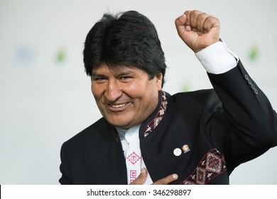 LE BOURGET near PARIS, FRANCE - NOVEMBER 30, 2015 : President of Bolivia Evo Morales at the Paris COP21, United nation conference on climate change.