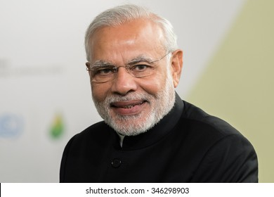 LE BOURGET near PARIS, FRANCE - NOVEMBER 30, 2015 : Prime Minister of india Narendra Modi at the Paris COP21, United nation conference on climate change.