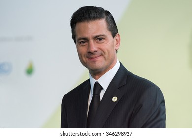 LE BOURGET near PARIS, FRANCE - NOVEMBER 30, 2015 : President of United Mexican States Enrique Pena Nieto at the Paris COP21, United nation conference on climate change.