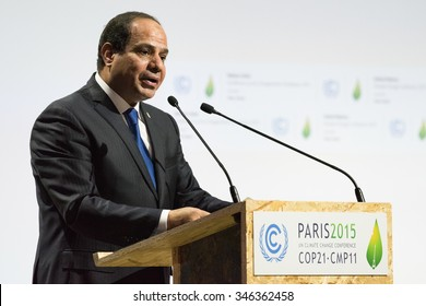 LE BOURGET near PARIS, FRANCE - NOVEMBER 30, 2015 : Egypt President Abdel Fattah Al Sisi delivering his speech at the Paris COP21, United nation conference on climate change.