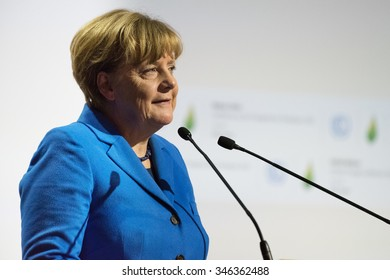LE BOURGET near PARIS, FRANCE - NOVEMBER 30, 2015 : German Chancellor Angela Merkel delivering his speech at the Paris COP21, United nation conference on climate change.