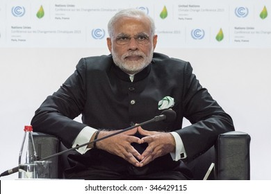LE BOURGET near PARIS, FRANCE - NOVEMBER 30, 2015 : Prime Minister of india Narendra Modi at the Paris COP21, United nation conference on climate change during the meeting about solar alliance.