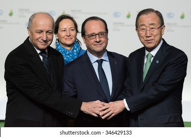LE BOURGET near PARIS, FRANCE - NOVEMBER 30, 2015 : President of COP21 Laurent Fabius, French President Francois Hollande and Secretary General of the United Nationsat Ban Ki-moon at the Paris COP21.