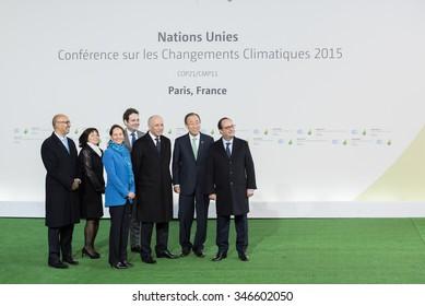 LE BOURGET near PARIS, FRANCE - NOVEMBER 30, 2015 : Francois Hollande, Ban Ki-moon, Laurent Fabius, Segolene Royal and Harlem Desir waiting Heads of state during the arrival at the Paris COP21,