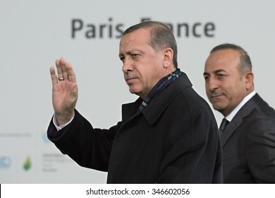 LE BOURGET near PARIS, FRANCE - NOVEMBER 30, 2015 : President of Turkey Recep Tayyip Erdogan arriving at the Paris COP21, United nation conference on climate change.