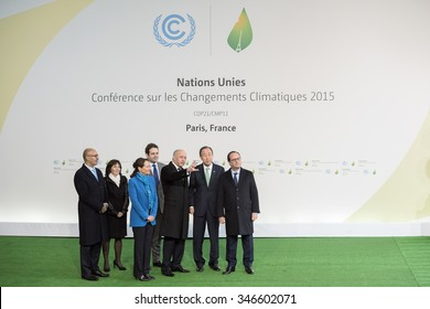 LE BOURGET near PARIS, FRANCE - NOVEMBER 30, 2015 : Francois Hollande, Ban Ki-moon, Laurent Fabius, Segolene Royal and Harlem Desir waiting Heads of state during the arrival at the Paris COP21,