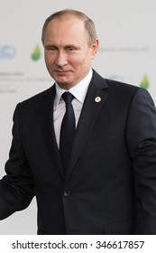 LE BOURGET near PARIS, FRANCE - NOVEMBER 30, 2015 : President of Russia Vladimir Putin arriving at the Paris COP21, United nations conference on climate change.