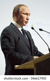 LE BOURGET near PARIS, FRANCE - NOVEMBER 30, 2015 : President of Russia Vladimir Putin delivering his National statement at the Paris COP21, United nations conference on climate change.