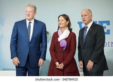 LE BOURGET near PARIS, FRANCE - DECEMBER 7, 2015 : American politician and environmentalist Al Gore with Ministry for ecology Segolene Royal and Jerry Brown Governor of California at the Paris COP21.