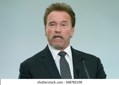 LE BOURGET near PARIS, FRANCE - DECEMBER 7, 2015 : Austrian-American actor and former governor of california Arnold Schwarzenegger at the Paris COP21, United nations conference on climate change.