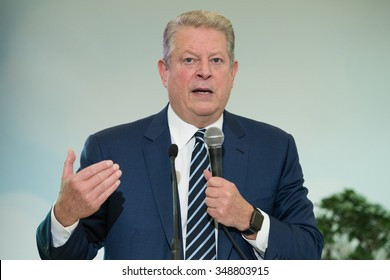 LE BOURGET near PARIS, FRANCE - DECEMBER 7, 2015 : American politician and environmentalist Al Gore at the Paris COP21, United nations conference on climate change.