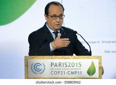 LE BOURGET near PARIS, FRANCE - NOVEMBER 30, 2015 : French President Francois Hollande during the conference about Solar Alliance at the Paris COP21, United nation conference on climate change.