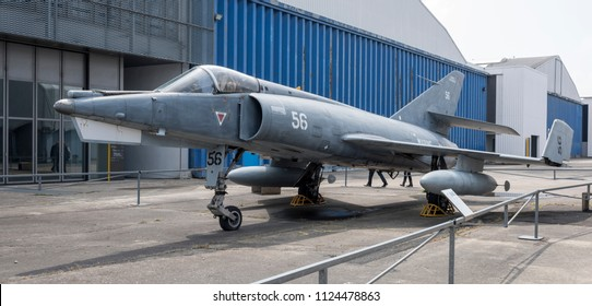Le Bourget, Paris, France- May 04,2017: Dassault Etendard IVM(1956) in the Museum of Astronautics and Aviation Le Bourget