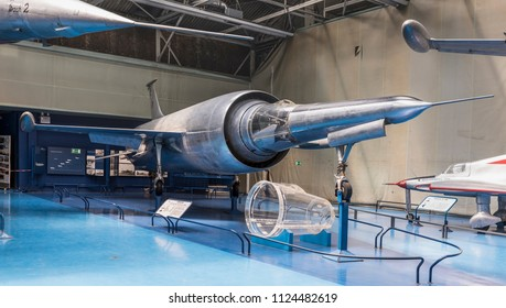 Le Bourget, Paris, France- May 04,2017: Leduc 022- single fighter-interceptor (1956 )in the Museum of Astronautics and Aviation Le Bourget