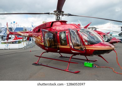 LE BOURGET PARIS - JUN 18, 2015: Bell 407GX helicopter on display at the Paris Air Show.
