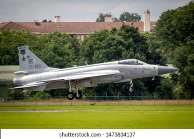 LE BOURGET PARIS - JUN 20, 2019: Pakistan Air Force PAC JF-17 Thunder fighter jet aircraft landing after a flying demonstration at the Paris Air Show.