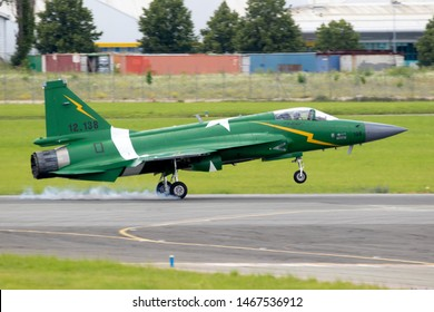 LE BOURGET PARIS - JUN 21, 2019: Pakistan Air Force PAC JF-17 Thunder fighter jet plane landing after a flying demonstration at the Paris Air Show.