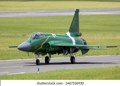 LE BOURGET PARIS - JUN 21, 2019: Pakistan Air Force PAC JF-17 Thunder fighter jet plane taxiing before a flying demonstration at the Paris Air Show.
