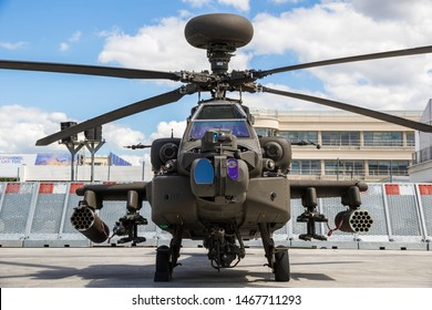 LE BOURGET PARIS - JUN 21, 2019: Newest Boeing AH-64E Guardian Apache attack helicopter at the Paris Air Show.