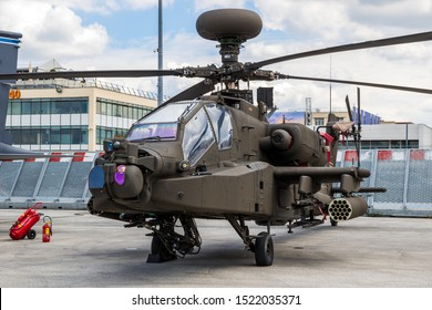 LE BOURGET PARIS - JUN 21, 2019: New US Army Boeing AH-64E Apache Guardian attack helicopter on display at the Paris Air Show.