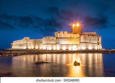 Le Castella at Capo Rizzuto at night, Calabria, Italy